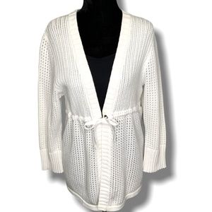 WOOLRICH 100%COTTON 3/4 SLEEVE WHITE KNIT CARDIGAN